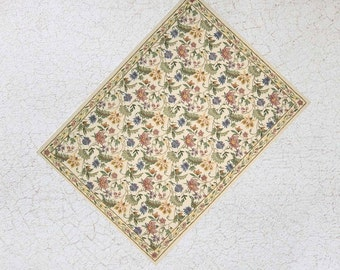 Miniature Floral Rug For Dollhouse or Playscale in choice of Three Sizes
