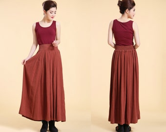 Pleated Linen Long Skirt with Elastic Waist / 6 Colors/ RAMIES