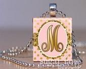 Monogram Initial Necklace - Blush Pink, Gold Glitter, Goil Foil Polka Dot - Scrabble Tile Pendant with Chain