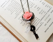 Romantic pink rose, filigree, lace, and key necklace, That Day in the Library