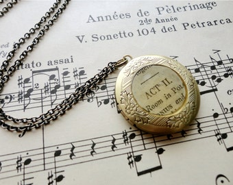 Round Shakespeare paper locket necklace, literary locket, vintage paper locket,  Bookworm