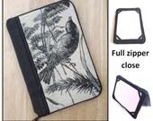 personalized HARD case - ipad case/ kindle case/ nook case/ samsung case /others - full zipper close - birds in black
