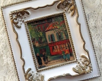 French Cottage Chic Town Scene Vintage Wall Frame