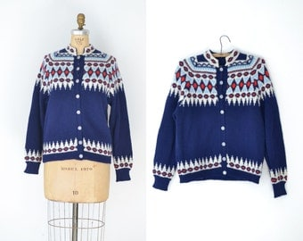 SALE! Vintage Navy Blue Fair Isle Sweater / Nordic Alpine Ski Sweater