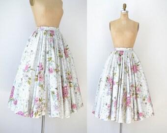 1950s Floral Skirt / 50s Full Circle Cotton Skirt
