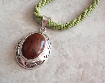 Mahogany Obsidian Necklace Sterling Silver Mexico Oval Cutout 19 Inch Beaded Rope Vintage CW0037