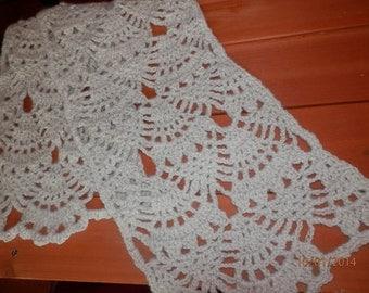 Alpaca Neck Scarf - Lace Pattern - WHITE (#081)