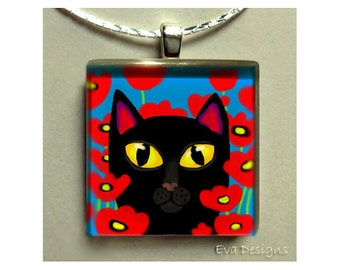 BLACK CAT red poppy fields necklace jewelry art gift pet 1 inch glass tile pendant with chain