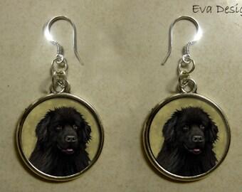NEWFOUNDLAND dog newf art pet gift jewelry sterling silver hooks dangle charm EARRINGS