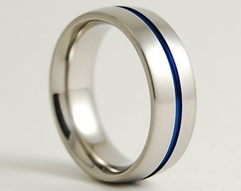 Wedding Band , Mens Titanium Ring , The Orion Band with Comfort Fit