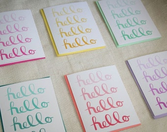 Ombre Rainbow Calligraphy Hello  Stationery - Set of 6 Blank Folded Cards and Envelopes