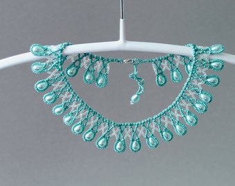 """Blue teal Beadwoven necklace """"BlueDreamDrops"""", Delicate blue Turquoise collar, Seedbead collar necklace, Turquoise Choker, Blue wedding"""