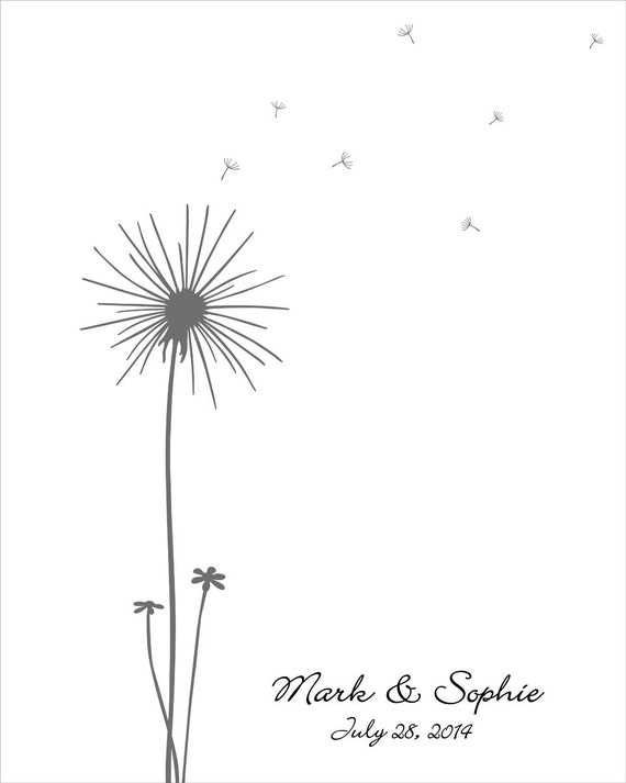 Wedding Guest Book Wedding Guest Book Dandelion Fingerprint