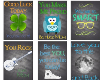 Set of 6 Lunch Box Notes - Chalkboard Style