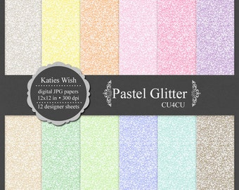 Pastel Glitter digital paper kit, small commercial use ok, instant download file for digital scrapbooking, invites, graphic design