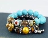 Turquoise, Boho, hippie, stretch stack bracelet