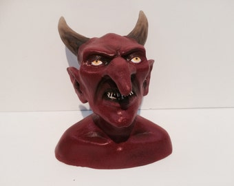 Horned Devil Man Bust Sculpture Handmade Horror Art