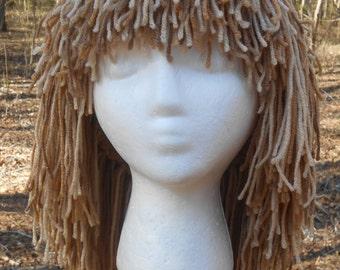 "G021   Yarn Wig  Awesome ""Toasted Almond""   Long Shag Yarn Wig  Ready To Ship"