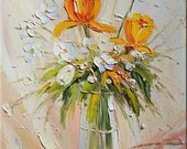 Loved by teh Sun 18 x 24 Flowers Original Oil Painting Yellow Orange Sunny Vase Still Life Palette Knife  by Marchella