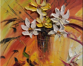 ORIGINAL Oil Painting Wild Flowers 23x36 Colorful Flowers Yellow Orange Earth Black Vase Bouquet Textured  Palette Knife ART by Marchella