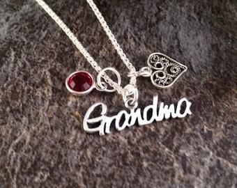Grandma Necklace,  Birthstone Necklace, Personalized Grandma Necklace, Grandma Gift, Christmas Gift, Grandma Birthstone Necklace