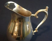 SALE! Vintage Silver Plated Water Pitcher with Ornate Handle