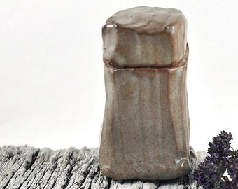 Ceramic Trinket Box Handcarved Handmade Pottery Jar Brown Tones Ring Box Jewelry Box