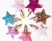 PICK TWO - Glitter Star Clips - Sparkle Star Clips - Sparkle Clips - Baby Hair Clip - Baby Shower Gift - Glitz Confetti Frozen Elsa Blue