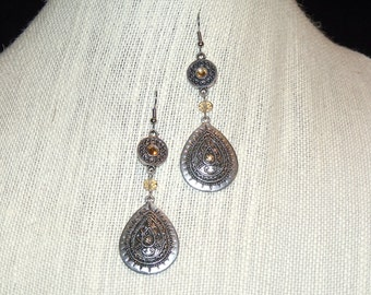 Boho Chic Antique Silver and Amber Glass Chandelier Earrings Bohemian Hippie Style Indie Jewelry