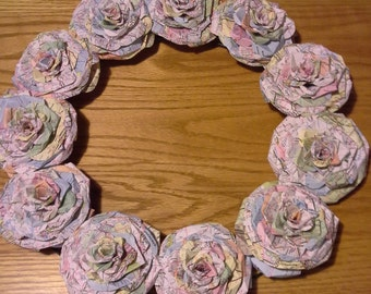 Recycled Map paper rose wreath
