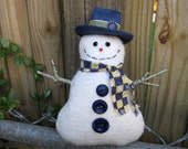Happy Snowman Ornament Tuck, Primitive Smiling Snowman, Prim Snowman Decor, Unique Snowman Collector Gift, Country Blue and Yellow, HAFAIR