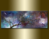 Original Birch Landscape Painting Oil on Canvas Textured Palette Knife Contemporary Modern Tree Art Seasons 15X40 by Willson Lau