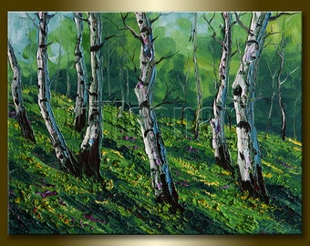 Modern Landscape Painting Birch Tree Forest Oil on Canvas Textured Palette Knife Original Art 12X16 by Willson Lau