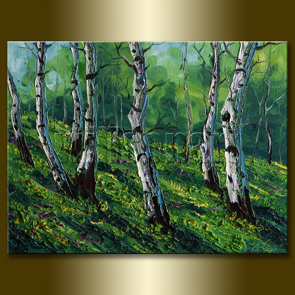 Modern Forest House: Modern Landscape Painting Birch Tree Forest Oil On Canvas