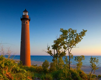 Little Sable Point Lighthouse towards Sunset on the Lake Michigan Shore by Silver Lake Michigan No.587 - A Lighthouse Seascape Photograph