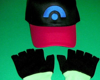 Ash Ketchum Diamond Pearl Hat and Gloves set  Halloween costume Pokemon choose size