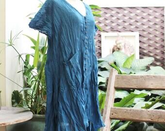 L-XL Comfy Roomy A-Shape Short Sleeves Blouse/ Short Tunic -  Blue