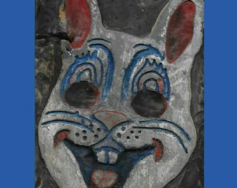 Creepy bunny, wall art, wood carving, painted wooden wall hanging, relief sculpture, 3d wallart, rabbit mask, bunny mask, vintage halloween