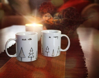 Christmas Gift Hand Painted Ceramic Mug  Tea cup  Black Minimalist Abstract Modern  christmas tree Kitchen Decor