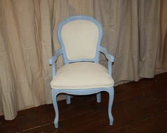 Vintage Hand Painted Upholstered & Wood Frame Chair Country French Blue White Shabby Chic