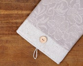 60% OFF Winter SALE White Linen iPad Case with dark flowers print pocket and button closure. Padded Cover for iPad 1 2 3 4. iPad Sleeve.