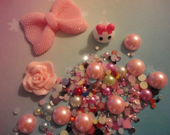 Kawaii decoden phone deco diy cabochon pink bow and teardrop harm kit 393---USA seller