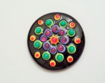 Glass Cabochon 35mm, Handmade Lampwork Jewelry Designer Cab, Handmade Lampwork Black, Green, Red, Purple Polka Dots Cabochon