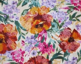 SPECIAL--Lacy Watercolor Floral Print Pure Cotton Fabric--One Yard