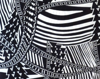 Black and White Graphic Abstract Print Pure Cotton Fabric--One Yard