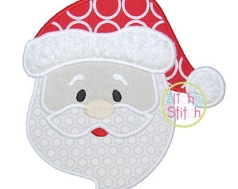 Santa Face Applique Design In Hoop Size(s) 4x4, 5x5, 6x6 &7x7  INSTANT DOWNLOAD now available