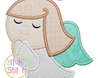 Angel Girl Applique Design, sizes in 4x4, 5x7, & 6x10 INSTANT DOWNLOAD