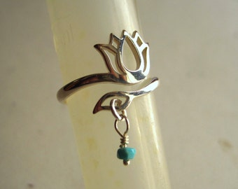 Sterling Silver Adjustable Lotus Flower Ring with Gem Stone Dangle