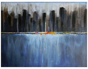 9x12 Fine Art Print City Scape Urban Abstract Water Scene Industrial Dawn a New Day giclee