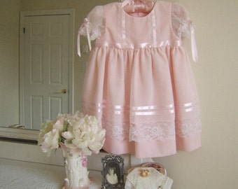 On Sale! Toddler Flower Girl Dress size 2, Pink Confection Heirloom Baby Dress, Voile and Lace, Special Occasion Dress